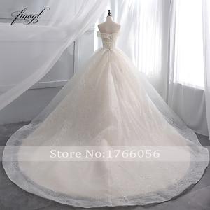 Image 3 - Fmogl Vestido דה Noiva סירת צוואר כדור שמלת חתונת שמלות 2019 סקסי ללא משענת חרוזים קפלת רכבת תחרה בציר כלה שמלה