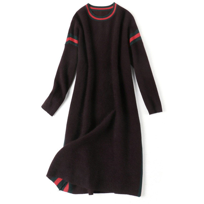 O neck elastic knit striped patchwork loose plus size wool thick sweater dress 2018 new women autumn winter long sleeve dress in Dresses from Women 39 s Clothing
