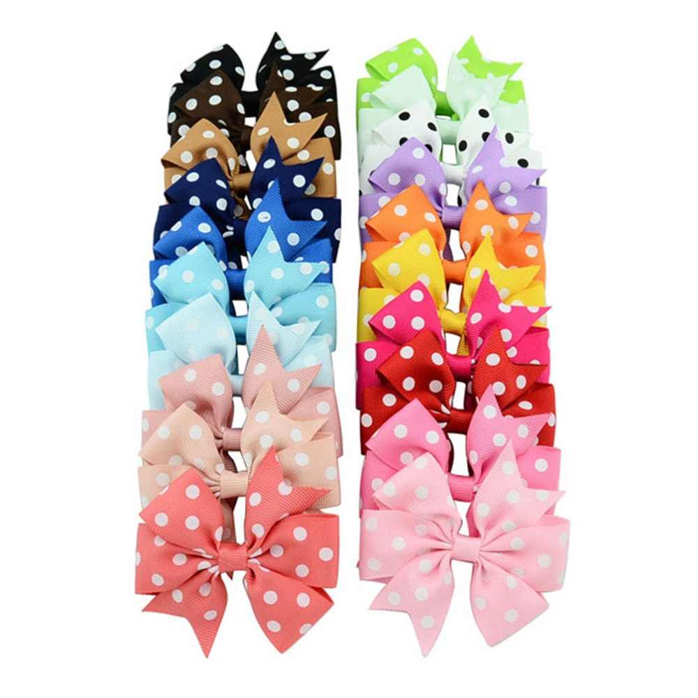 1 Pcs/lot 3 Inch Polka Dot Grosgrain Ribbon Bows Clips With Alligator clip Boutique Kids Girls Bow tie Hair Accessorises592