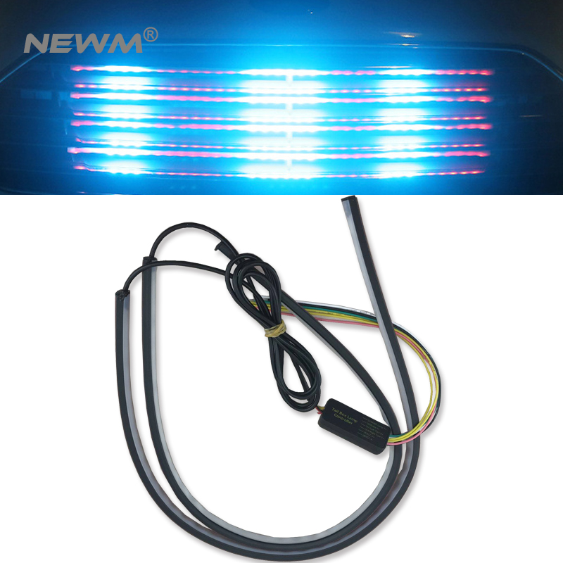 2*60cm Car Flexible LED Knight Rider Strip Light For Headlight Sequential Flasher DRL Flowing Amber Turn Signal Lights