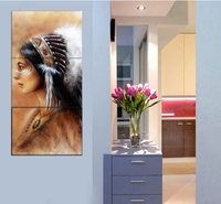 3 Piece Indiana Women Wall Art Wall Pictures For Living Room Pictures Indian Woman Painting for Bedroom Wall Home Decoration