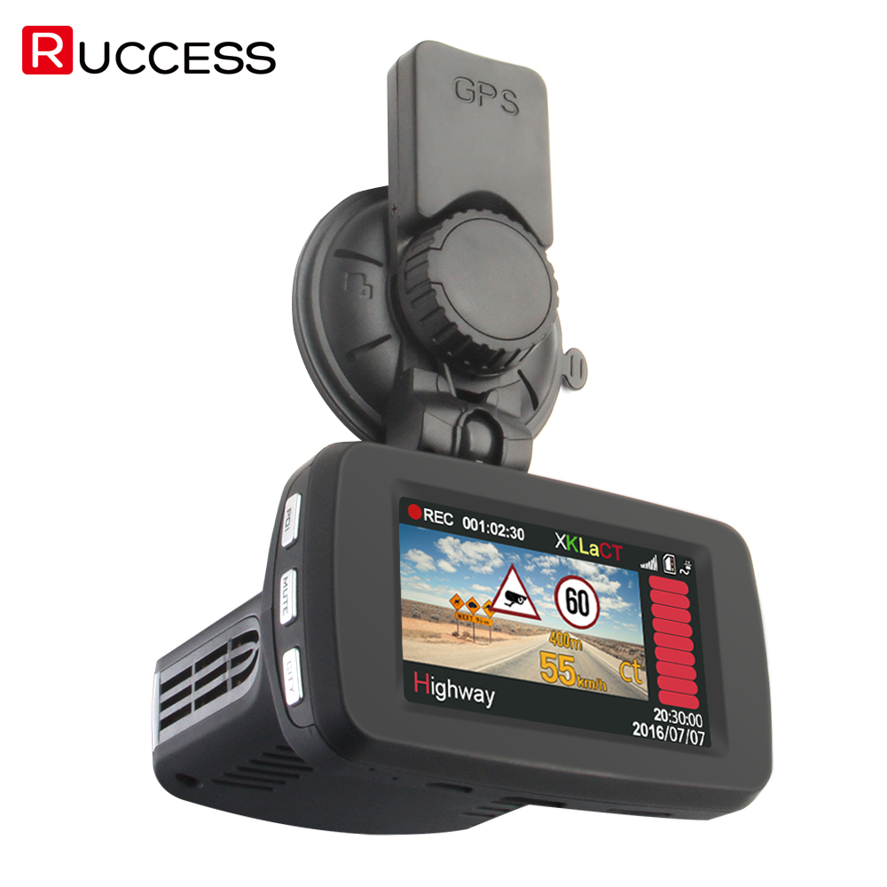 RUCCESS Radar Detectors Video Car DVR Radar Detector GPS Logger 3 In 1 Russian Dash Camera