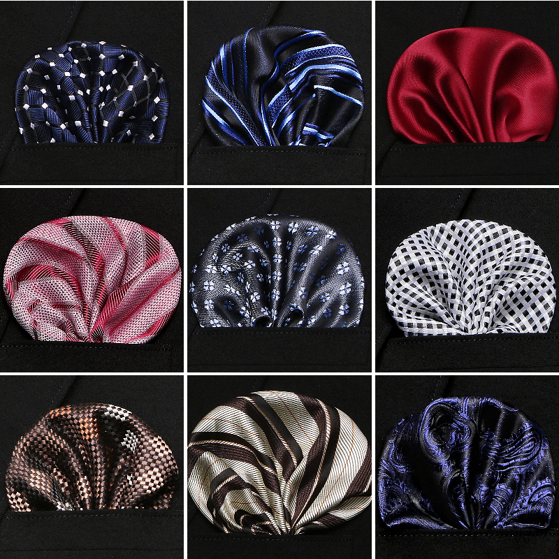 Factory Men's Paisley Pocket Square Solid Handkerchiefs 60 Colors Formal Wedding Party Business Chest Towel Black White Blue