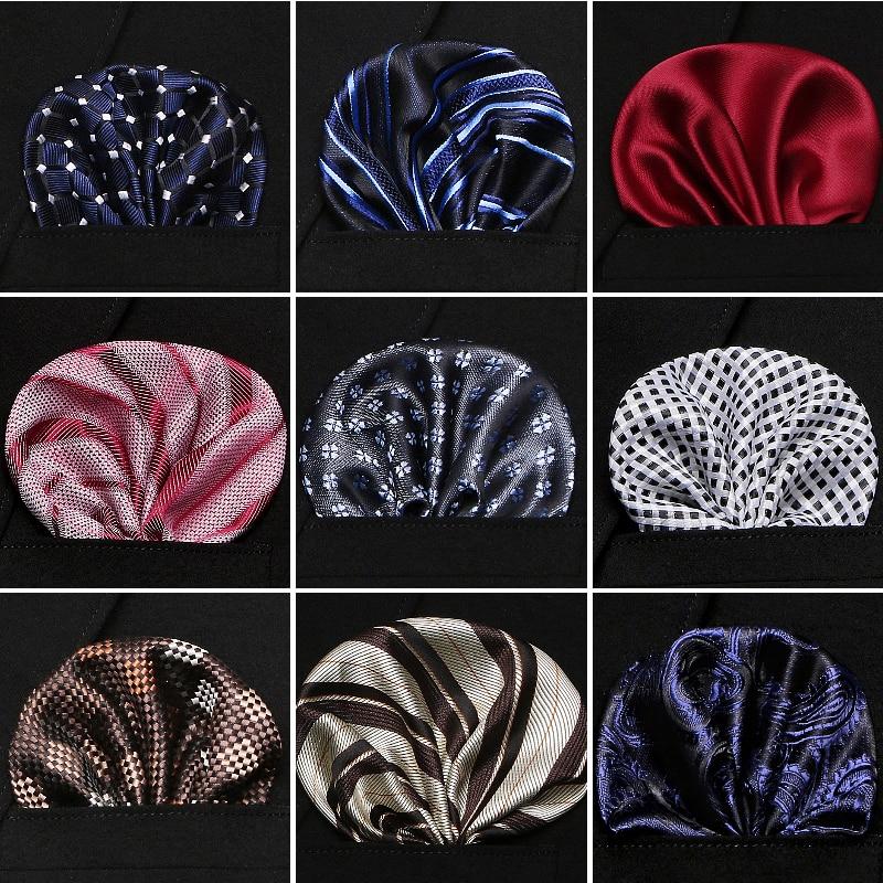 Factory Men's Paisley Pocket Square Solid Handkerchiefs 60 Colors Formal Wedding Party Business Chest Towel Black White Blue
