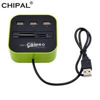 CHIPAL-miniconcentrador multifunción todo en 1, adaptador divisor con 3 puertos USB 2,0, TF, SD, M2, MS, MMC, lector de tarjetas para ordenador portátil y de escritorio