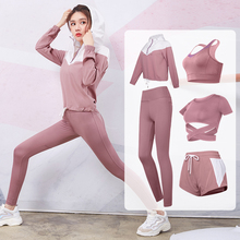 2019 New Yoga Sets Womens Gym Sports Suits Stretchy Running Sportswear Joggers Fitness Training Clothing 4-5pcs