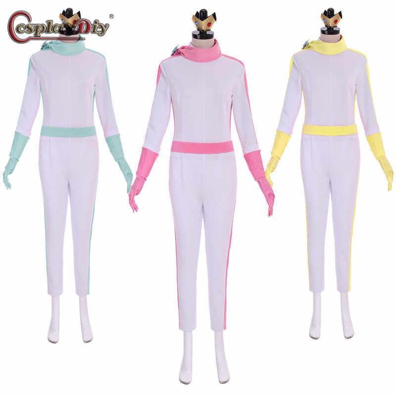 Cosplaydiy Mario Kart 8 Princess Peach Daisy Rosalina Bike Suit Cosplay Costume Halloween Party Women Girls Jumpsuit Custom Made