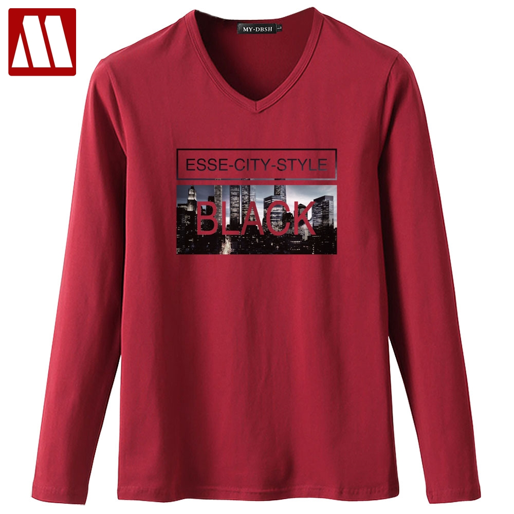 New High Quality Cotton Men t shirts Casual Full Sleeve t-shirts For Men ESSE-CITY-STYLE Printed Mens tshirts Plus Size S~5XL