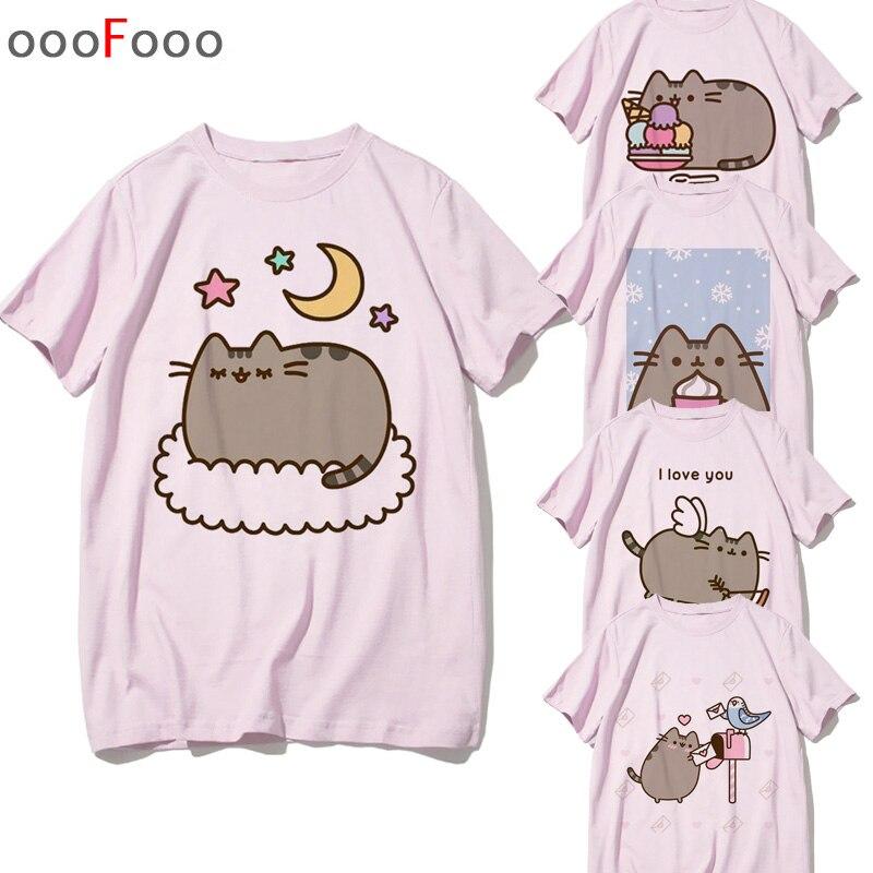 Pusheen Camiseta T-shirt Gráfico Bonito Mulheres Gato Kawaii Kawaii Harajuku Camiseta Moda Camisetas de Manga Curta Top Tees Feminino/ homens