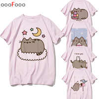 Pusheen T Shirt Cute Cat Women Kawaii Graphic T-shirt Kawaii Tshirt Harajuku Fashion T-shirts Short Sleeve Top Tees Female/men