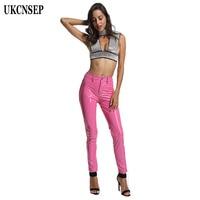 UKCNSEP 2018 Women Pants pantalon femme Black Latex Full Length Sexy Women High Quality Ladies Pants Bodycon PU Leather Pants