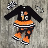 New Spring Baby Girls Children Clothes Stripe Basketball Kids Suit Boutique Love Ruffle Long Sleeves Kids