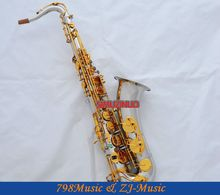Professional Silver Gold Tenor Saxophone Sax Abalone shell Bb Key With Case