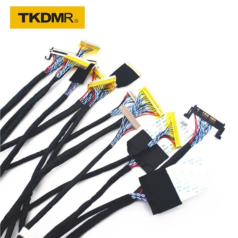 TKDMR New TV / LCD / LED Strumento tester schermo 14 pz / lotto Linee schermo Pannello LCD Lampara Cavi di prova Supporto 7-55 pollici Interfaccia LVDS