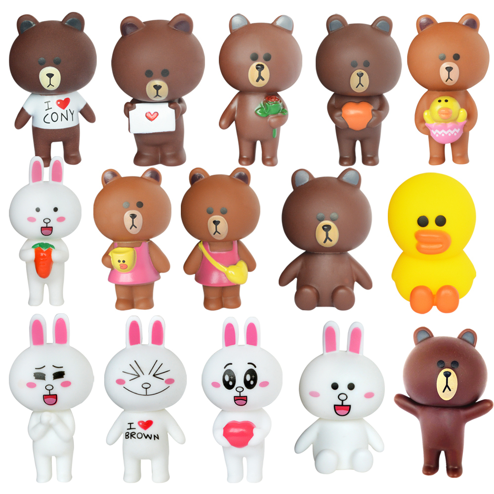 New Bear Brown Rabbit Cony Kawaii Action Figures Cute Decoration Cartoon Toys For Children Kids Collection