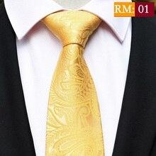 New Design Stripes Gold Neck Ties 100% Silk Classic Men Tie 8cm Paisley for Necktie Business Wedding Party Gravatas