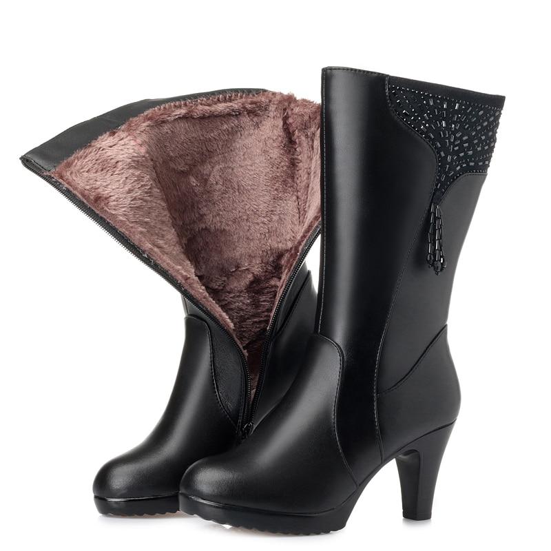 GKTINOO bottes d'hiver en laine fourrure à l'intérieur des chaussures chaudes femmes chaussures en cuir véritable talons hauts bottes chaussures Botas grande taille 35 43-in Bottines from Chaussures    2