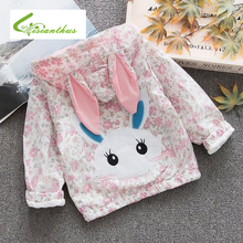 Girls Coats and Jackets Kids 2019 Spring Flowers Print Children for Girls Clothes Cartoon Rabbit Outerwear Hooded Kids Clothes s kids bing bunny cartoon print hoodies coats for boys girls rabbit long sleeves hoody sweatshirts for children costumes