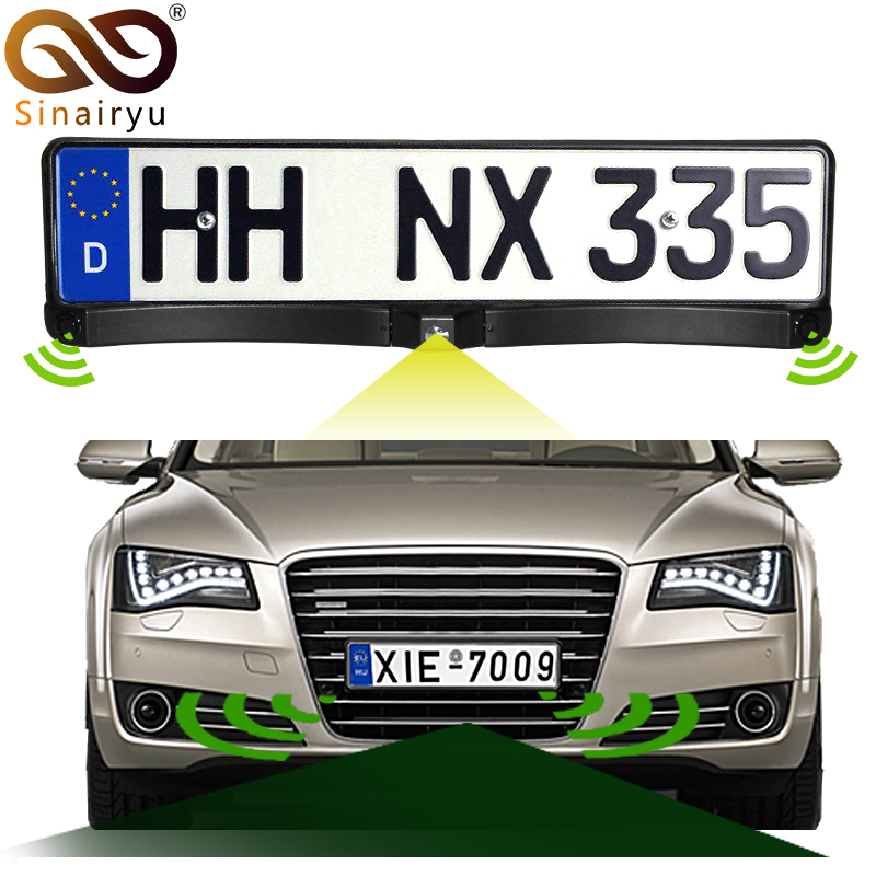 Sinairyu Auto Front / Rear Parking Radar Sensor + HD CCD Europe Russia License Plate Frame Car Front Camera Without Parking Line braun front plate fever electronic tube front preamplifier 6n8p gallbladder front plate 6sn7 front board