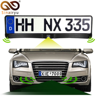 Sinairyu Auto Front / Rear Parking Radar Sensor + HD CCD Europe Russia License Plate Frame Car Front Camera Without Parking Line