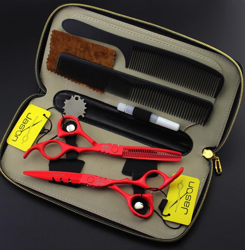 5.5 ou 6.0 pouce Jason Rouge Professionnel De Coiffure outil barbier ciseaux ensemble avec un Cas, ciseaux de coupe et amincissement cisaillement kit