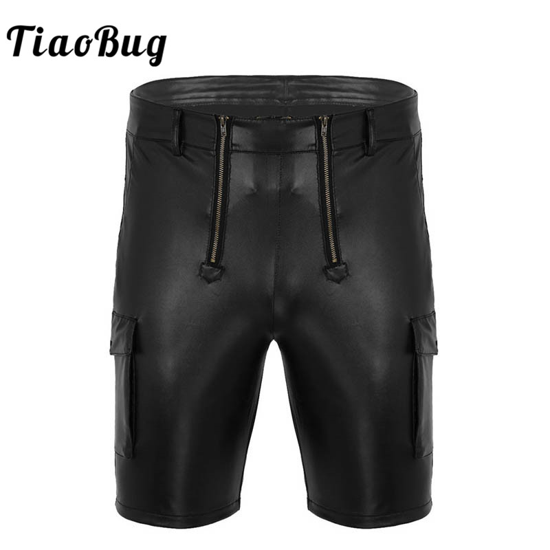 TiaoBug Black Faux Leather Shorts Men Cargo Style Front Zippered Open Pouch Side With Two Big Pockets Carpenter Cool Sexy Shorts