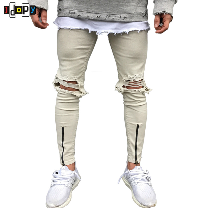 Hi Street Mens Skinny   Jeans   Retro Washed Damage Knees Holes Pants Slim Fit Trousers With Zippers