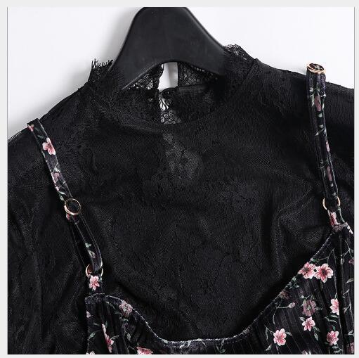 Impression Arrondi Fit Ensemble Top Nouveau Mesh Slim Col Costume 2018 Élégant Robe Femmes Manches 2 Black Femelle Mode Support Sling Pièces Automne xU6wYUq4