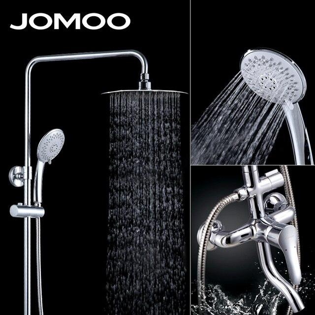 Jomoo Rain Shower Head Set Chrome Plated Round Rainfall Slide Bar Hose Wall Mount
