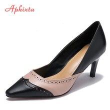 be17775a Aphixta Bullock zapatos mujer estilo extraño tacón bombas de dedo punta de  la boda partido zapatos Derss Cordero Patten cuero bo.
