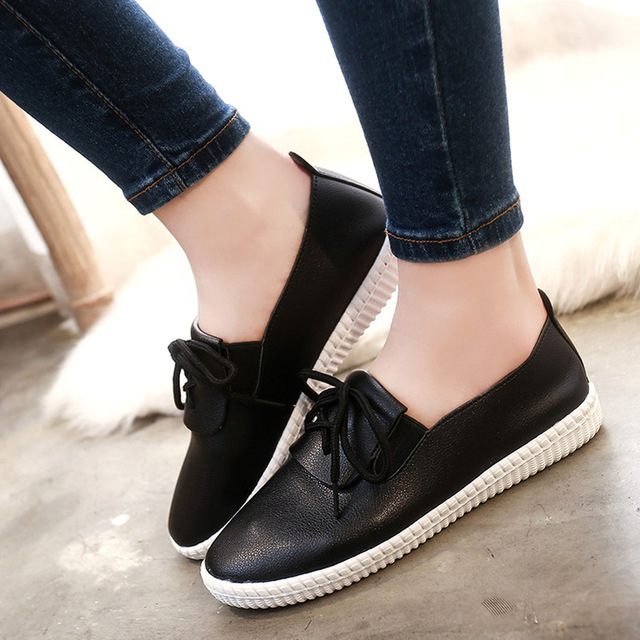 2017 New Flat Shoes Women Casual Dames Schoenen Lace-up Ladies Shoes Platform Chaussures Femme Zapatos Mujer Sapato Feminino