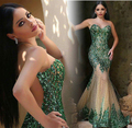 BM326 Robe de Soiree Prom Mermaid Dresses 2017 Illusion Neck Bling Sequined Green Appliques Tulle Mother of the Bride Dresses