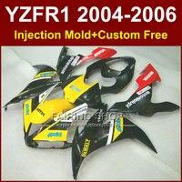 Пользовательские ABS для мотоциклов инъекций дешевые Обтекатели набор для Yamaha R1 2004 2005 2006 YZFR1 YZF1000 04 05 06 черный желтый тела обтекателя