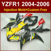 Custom ABS motorcycle Injection cheap fairings set for YAMAHA R1 2004 2005 2006 YZFR1 YZF1000 04 05 06 black yellow body fairing
