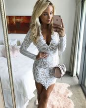New Long Sleeve Lace Dress Sexy Women Mini Party Dresses Robe 2017 Hot Sale A190501