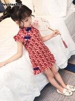 2019 new girls chinese dress kids chiffon red printing baby qipao children sleeveless cheongsam wedding dresses robe chinoise