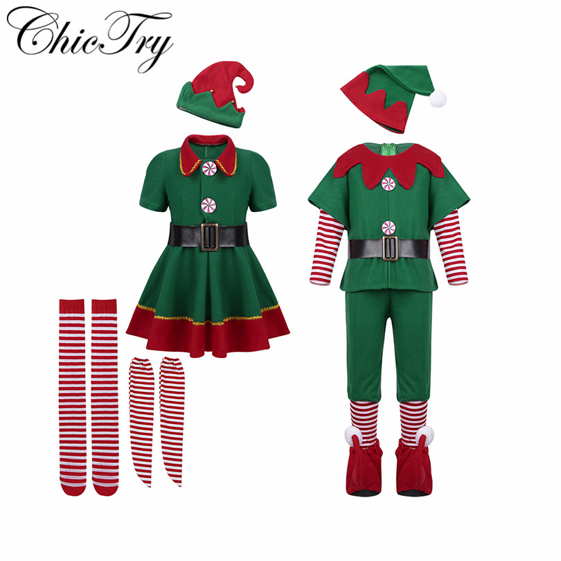 Kids Boys Girls Christmas Elf Cosplay Party Costumes with Red Santa Hat Belt Tights Set for Xmas Cosplay Party Dress Up Clothes