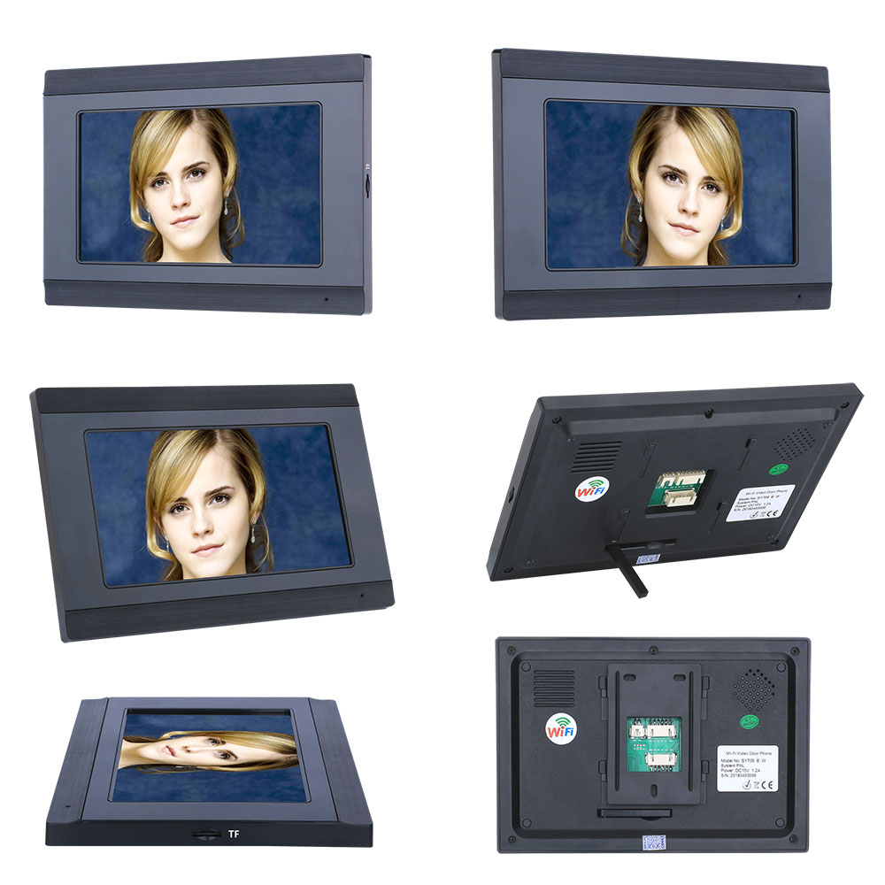 YobangSecurity Video Intercom 7 Inch LCD Wifi Wireless Video Door Phone Doorbell 1 Camera 2 Monitor KIT Password RFID Unlock