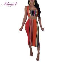 Adogirl Women Colorfully Striped Print Bodycon Beach Dress Sexy Sleeveless V-Neck Midi Party Club Dresses Tank Crop top Vestidos