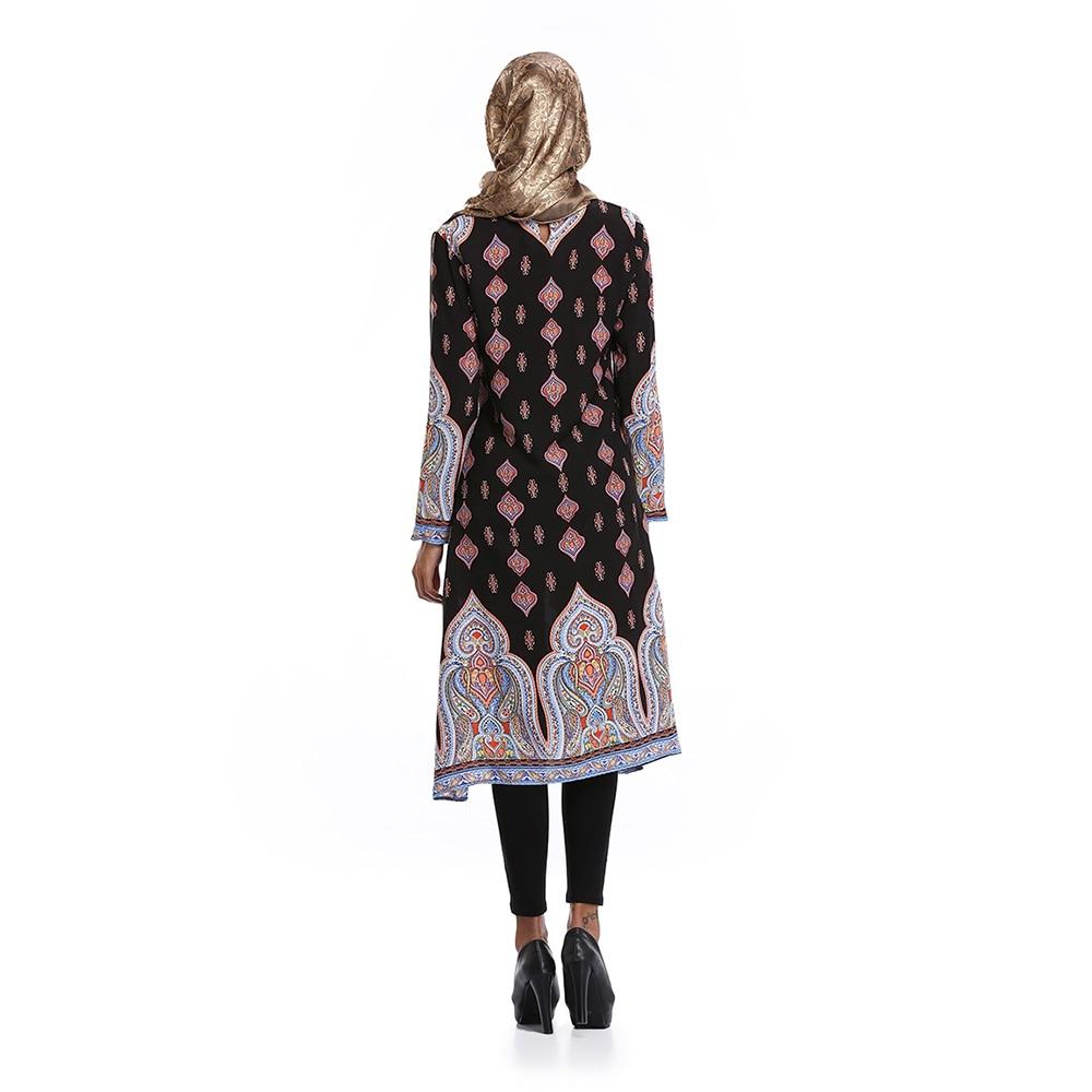 Islamic Clothing Cotton Abaya Digital Print Loose Shirt Dresses