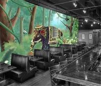 3d Paper Wall Nordic Tropical Plant Coconut Tree Animal Elephant Landscape TV Background Wall Jungle Mural Wallpaper
