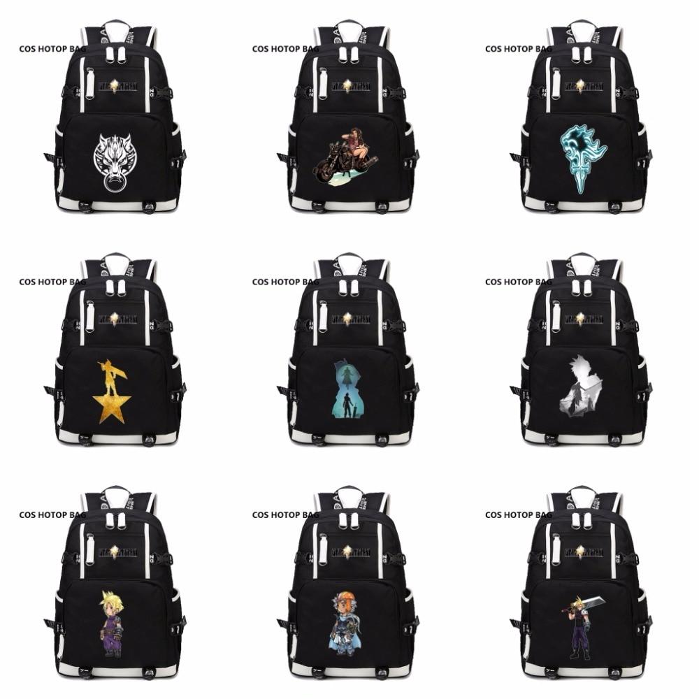2018 new Game Final Fantasy VII FF7 Backpack women men Travel bag Laptop Shoulder Packsack student bookbag Knapsack 15 style