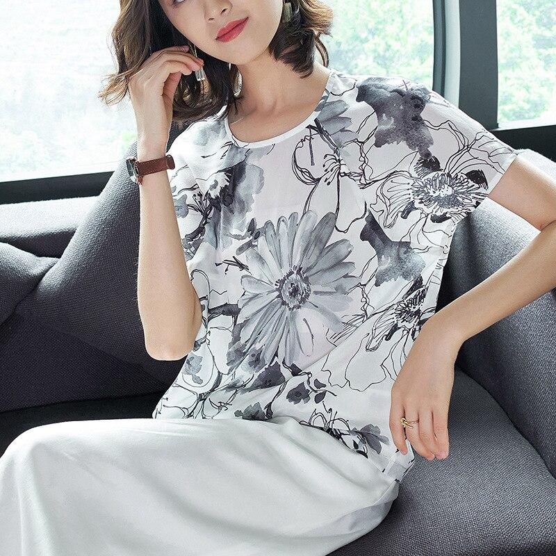 Vrac shirts D'été En Piste 2018 Nouvelle Imprimer T Blanc Bureau Supérieure Chauve souris Lady Pulls Soie 100 Manches Femmes Qualité 0xYPwO8Pq