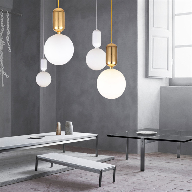 Creative Nodic Home Pendant Lighting Bar Cafe Restaurant Living Room Bedroom Modern Simple Ball Glass Hanging Lamp Drop Shipping d200mm white glass round ball shade fabric wire pendant lamp fixture brass drop modern home lighting bedroom cafe decoration