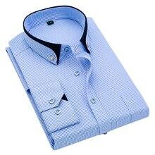 Long Sleeve Shirt Men Business Gentleman Plaid Slim Lapel Classic Plus size Cotton Spring and Autumn New 2019