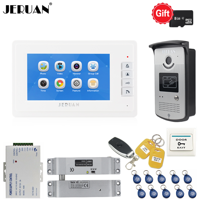 JERUAN New 7`` Video Doorbell Voice/Video Recording Intercom system kit Metal Waterproof RFID Access IR Camera with 8GB TF card