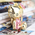 2016 chaveiro Fashion Crystal Cat Bowknot Car Keychains Girls Key chain Alloy With Rhinestone Gift Keychain sleutelhanger