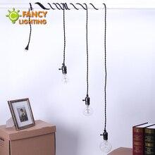 5M 3 sztuk E27 oprawka EU Plug Vintage czarny pająk lampa z pokrętło przełącznika wisiorek światło dla wiszące światła do jadalni oprawa