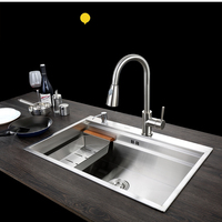 C C SUS304 Stainless Steel Kitchen Sink Vessel Set With Faucet Single Sink Kitchen Sink Washing