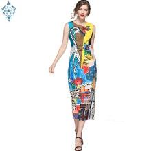 Ameision Fashion Runway Designer Summer Dress Women Sleeveless Tank Casual Print Sequin Midi Pencil Elegant Dresses vestido